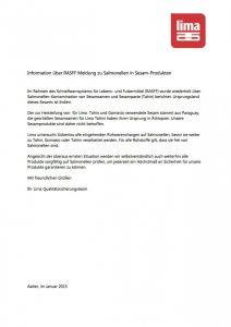 Lima_Information_RASFF_Salmonellen in Sesam